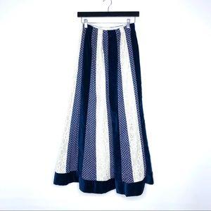 Vintage Chessa Davis Velvet Lace Panel Maxi Skirt